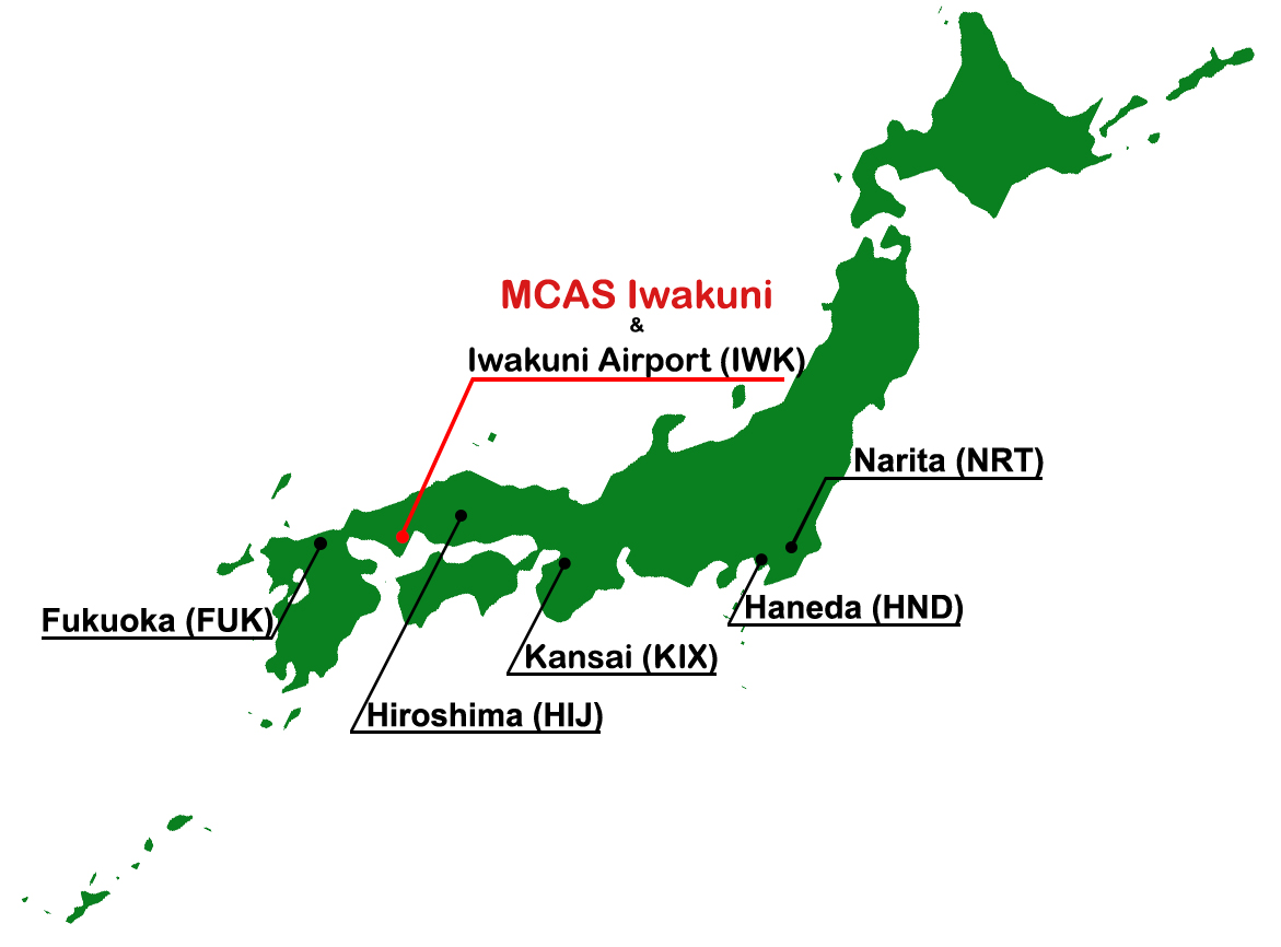How To Get To MCAS Iwakuni - Japan map airports